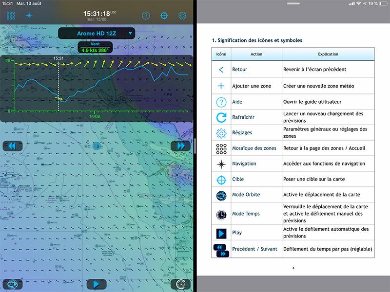 Weather4D et le manuel utilisateur en mode Split View